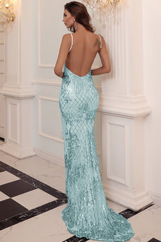 Blue Sequin Long Prom Dress