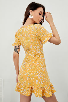 Yellow Floral Print Summer Dress