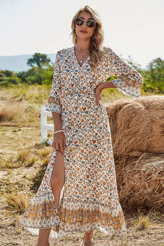 V Neck 3/4 Sleeves Boho Dress