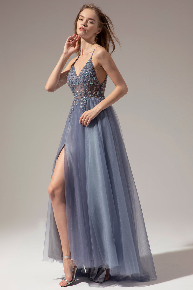 Load image into Gallery viewer, V-neck Long Prom Dress With Slit
