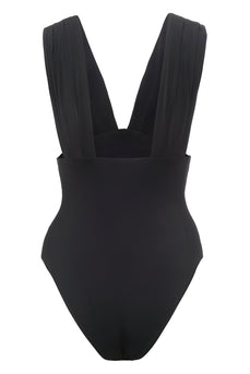 Black Deep V Neck One Piece Swimwear