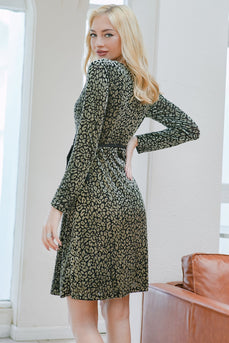 Green Leopard Long Sleeves Dress
