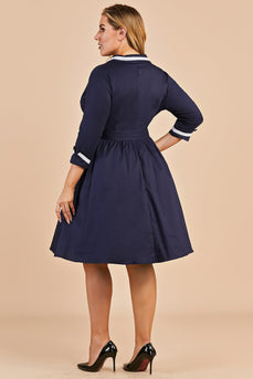 Navy Blue Vintage Plus Size Wrap Dress