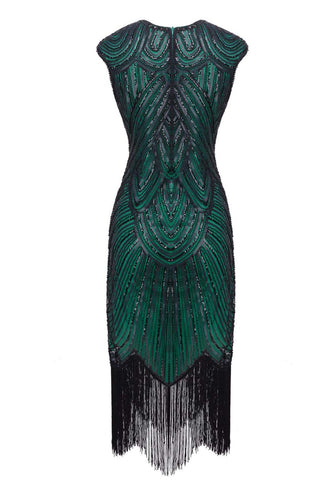 Green Sequin 1920s Fringe Flapper Dress