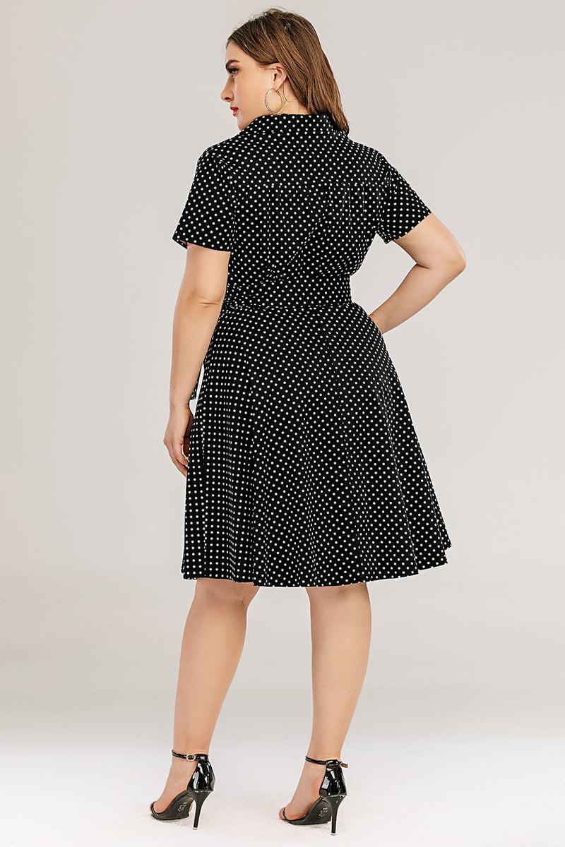 Load image into Gallery viewer, Plus Size Polka Dots Swing Dress