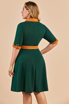 Green V Neck Swing Party Dress