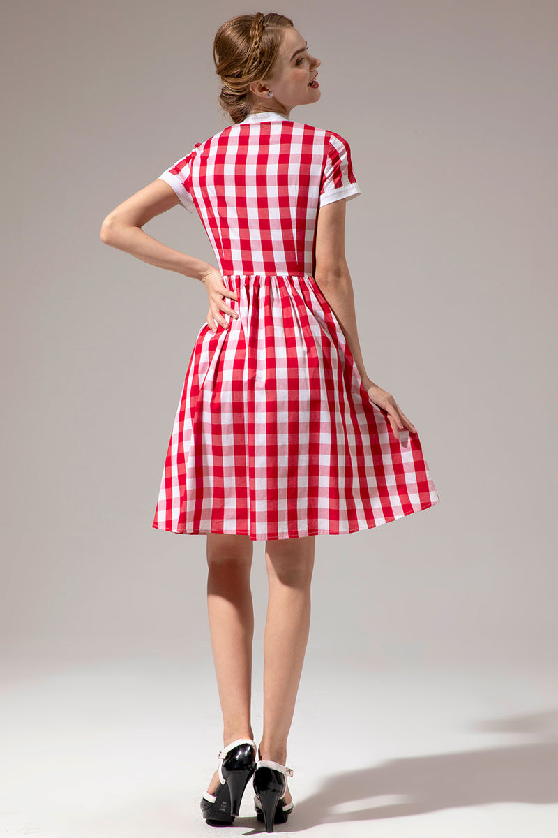 Load image into Gallery viewer, Burgundy Jewel Half Sleeves 1950s Dress