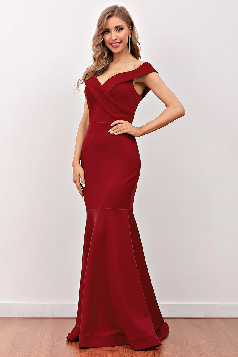 Load image into Gallery viewer, Burgundy Mermaid Long Prom Dress