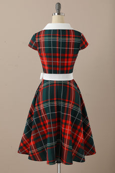 1950s Red Scoop Plaid Flod Swing Dresss