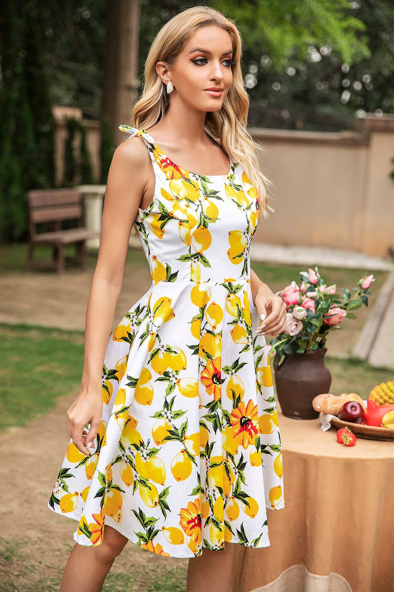 Load image into Gallery viewer, Lemon Vintage Dress With Bows