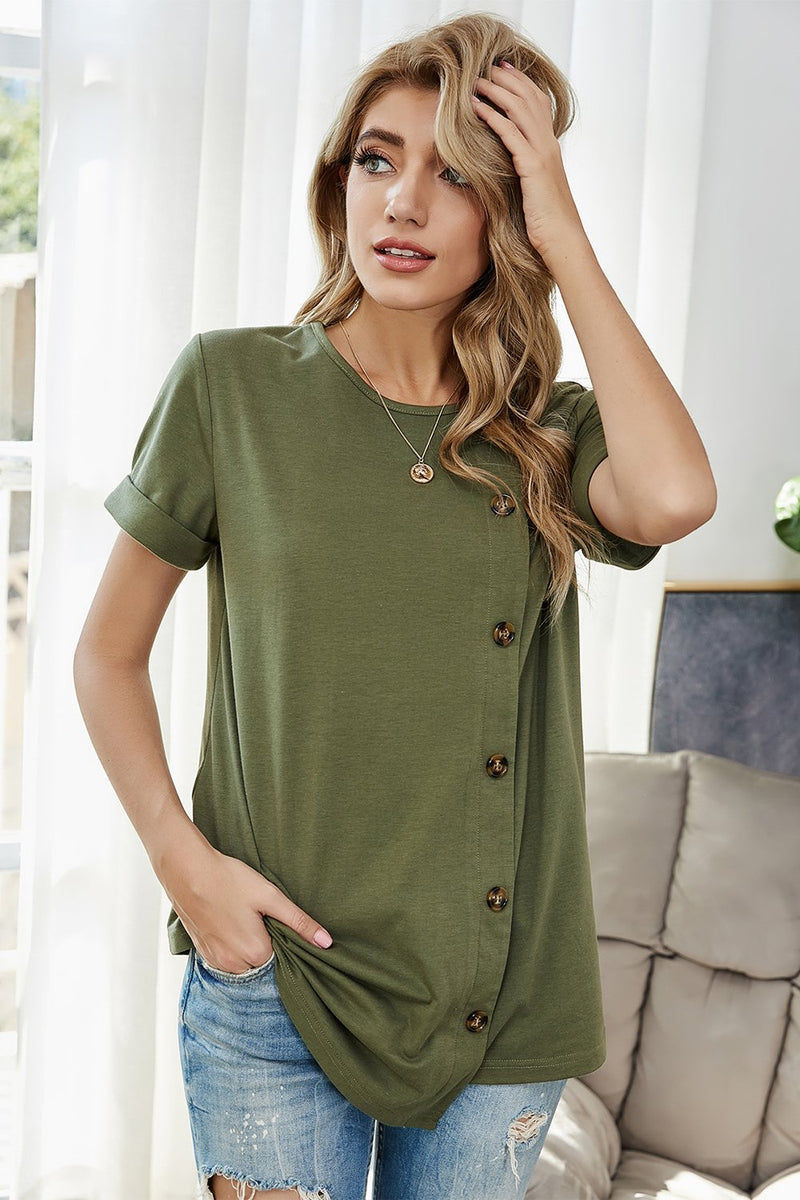 Load image into Gallery viewer, Army Green Round Neck Top