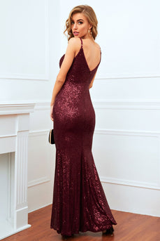 Burgundy Mermaid Sequin Long Prom Dress