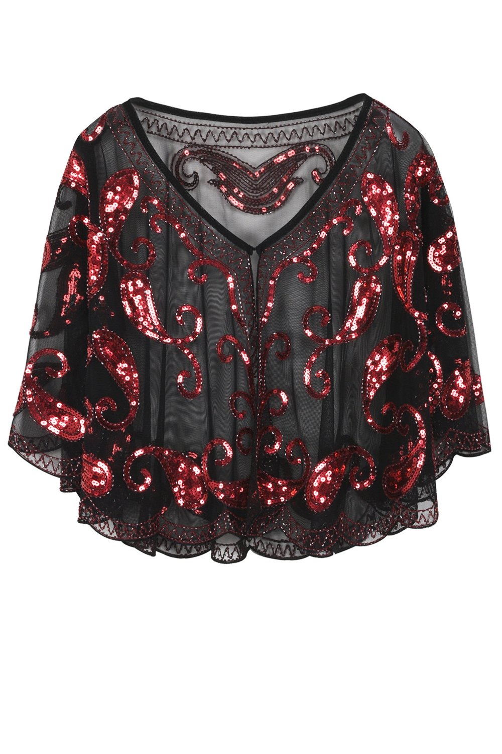 1920s Red Glitter Sequins Cape