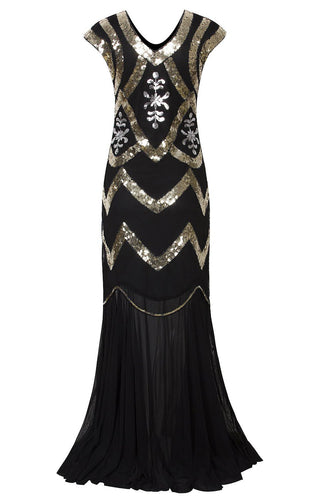 Black Mermaid Boat Neck Cap Sleeves 1920s Dress