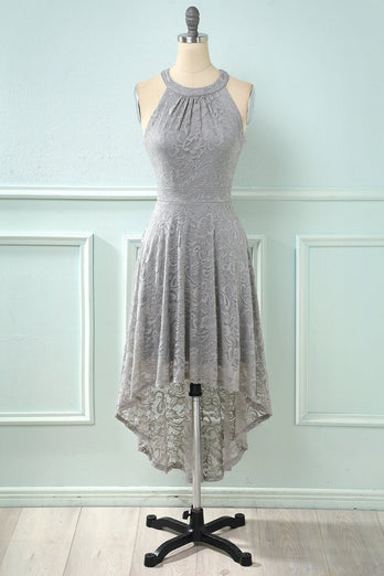High Low Halter Sleeveless Lace Dress