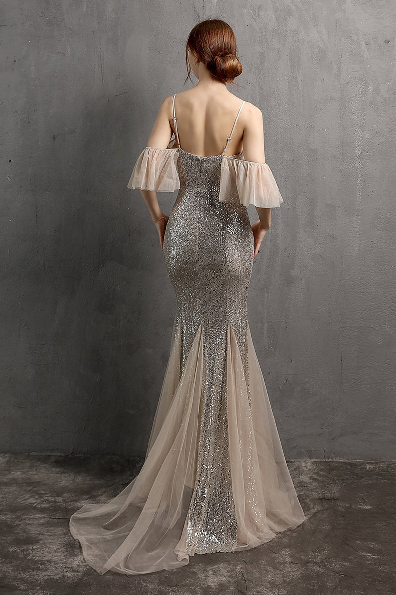 Load image into Gallery viewer, Champagne Sequin Long Prom Dress with Ruffles