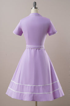 Purple Belted Short Sleeves Vintage Dress