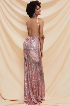 Pink Sequin Mermaid Long Prom Dress
