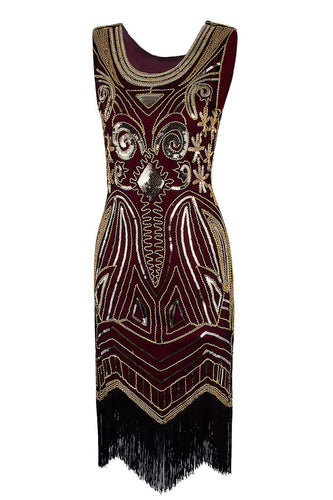 Burgundy 1920s Sequins Fringe Flapper Dress