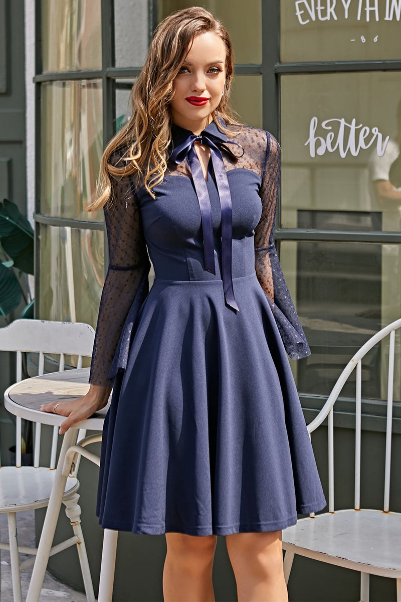 Load image into Gallery viewer, Navy Long Sleeves Vintage Dress