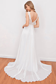 White Embroidery Wedding Dress