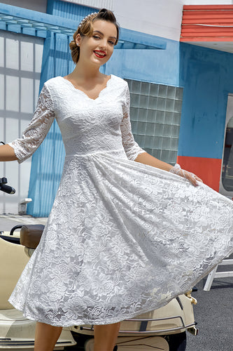 White 3/4 Sleeves Formal Dress