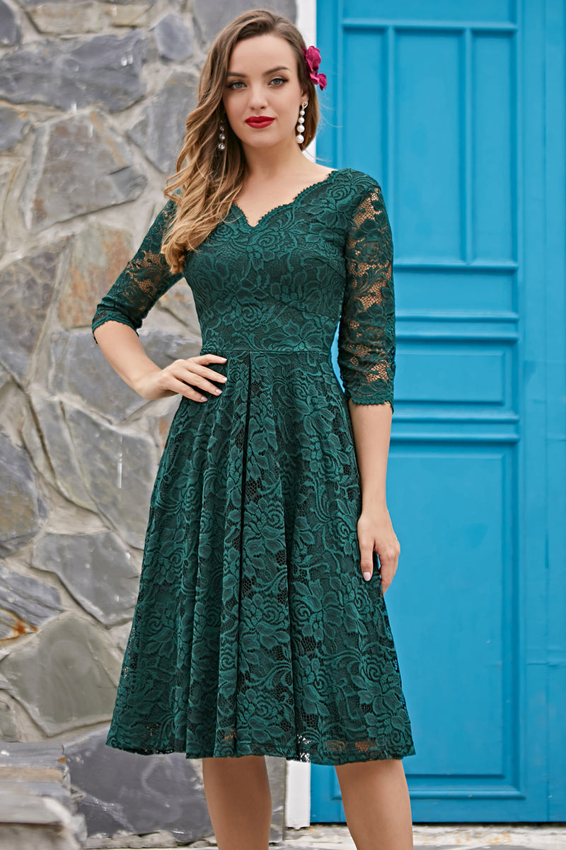 Load image into Gallery viewer, Dark Green 3/4 Sleeves Formal Dress