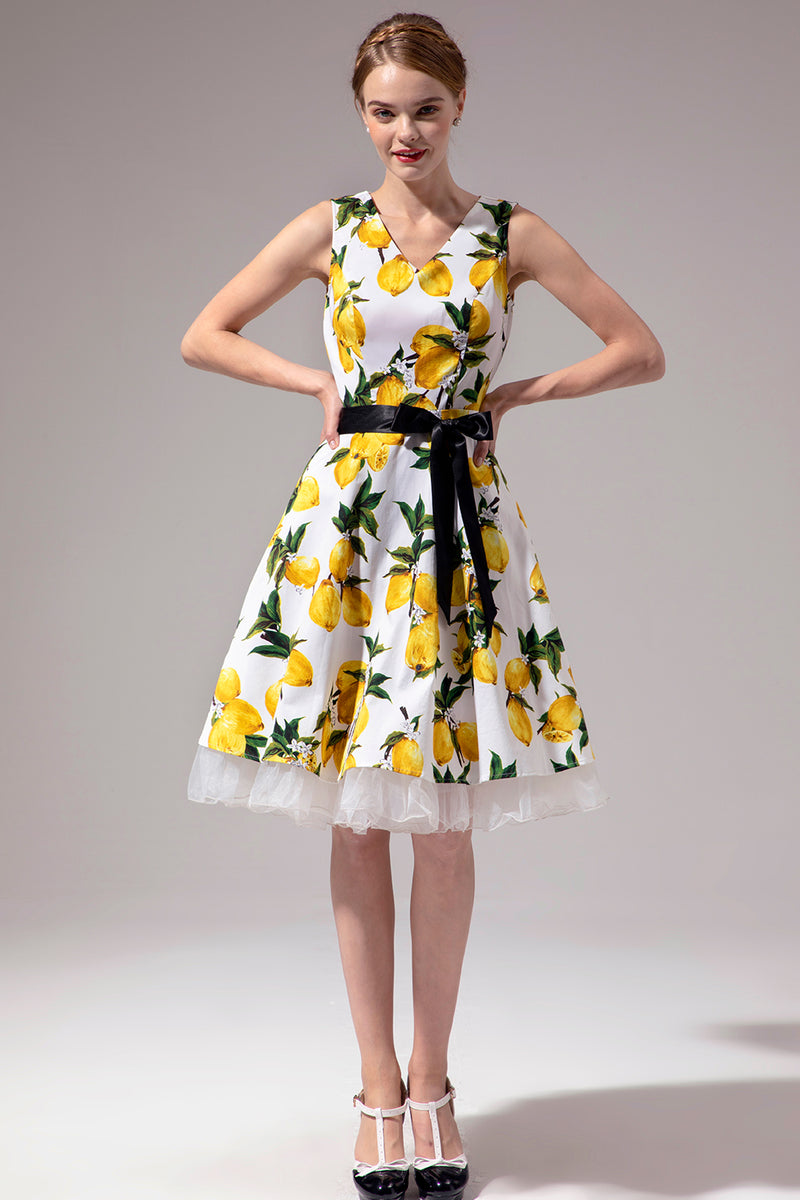 Load image into Gallery viewer, V-neck Lemon Dress