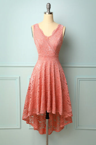 Blush V-Neck Lace Dress