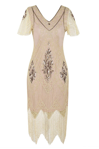 Champagne V Neck Backless Sequin Fringe Flapper Dress