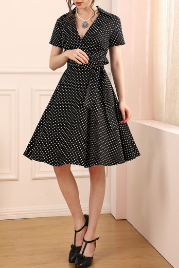 1950s Black White Dots Dress