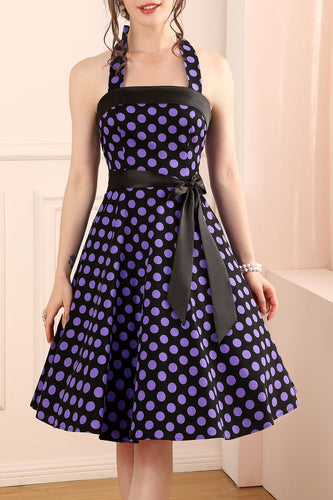 Halter Purple Dots Dress