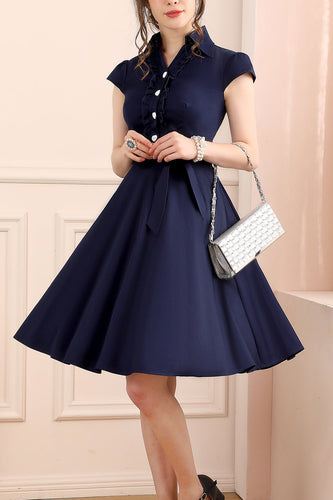 1950s Navy Blue Dress