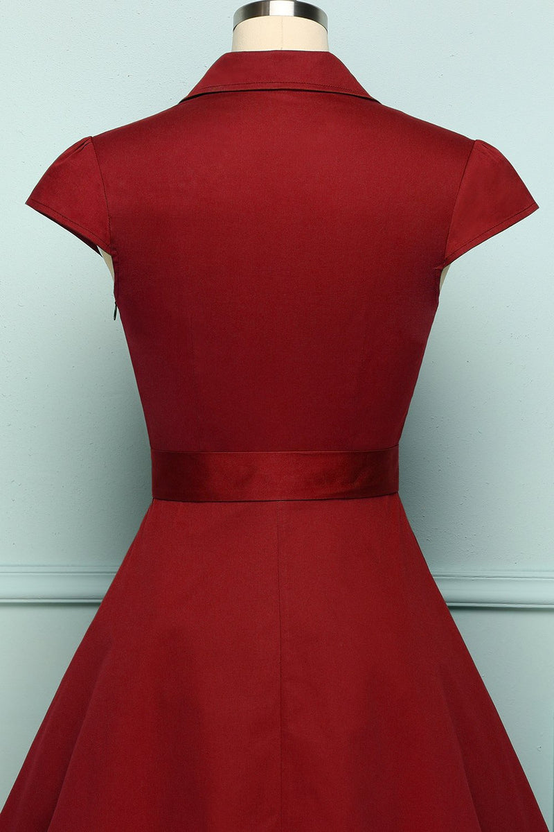 Load image into Gallery viewer, 1950s Dark Red Swing Dress
