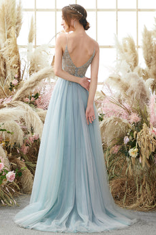 Light Blue Beading Tulle Prom Dress
