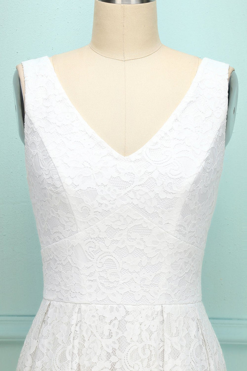 Load image into Gallery viewer, White V-neck Lace Dress