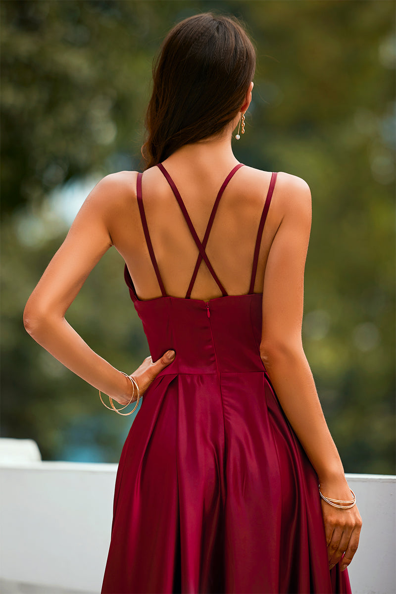 Load image into Gallery viewer, Burgundy Satin Long Dress