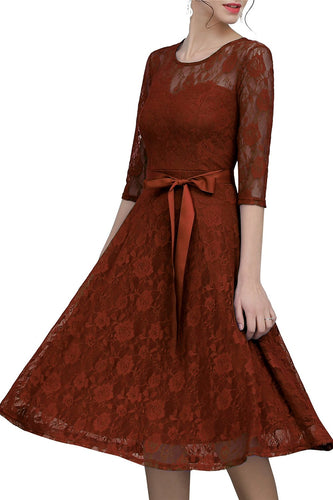 Brown Sash Lace Dress