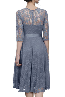 Grey Sash Lace Dress