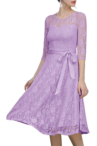 Lavender Sash Lace Dress