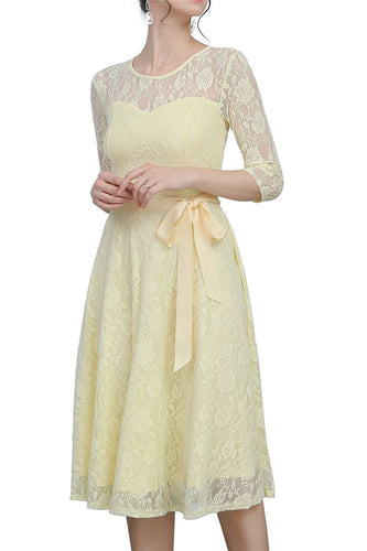 Yellow Sash Lace Dress