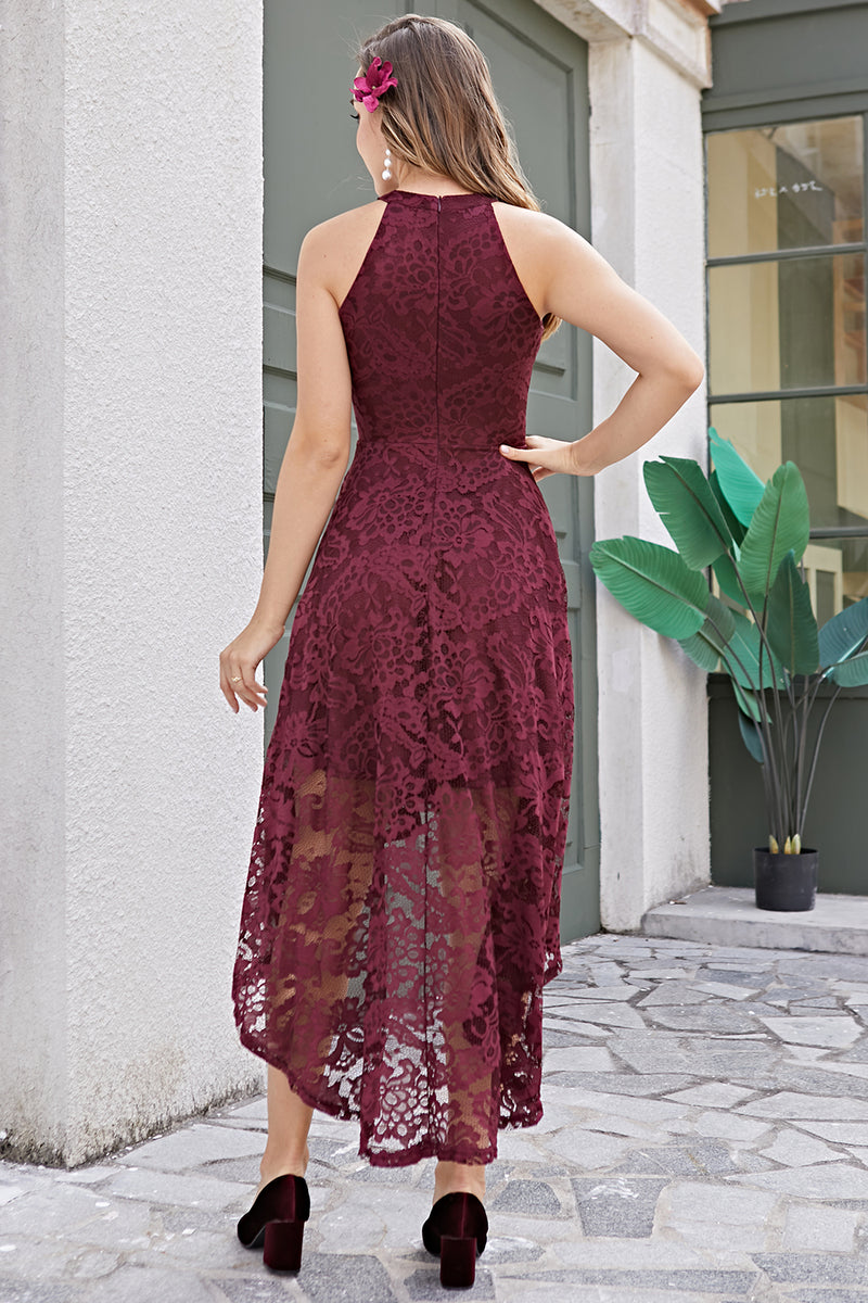 Load image into Gallery viewer, Burgundy Lace Asymmetrical