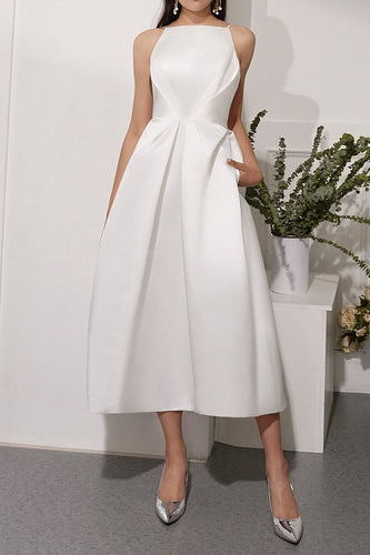 White Spaghetti Straps Midi Dress
