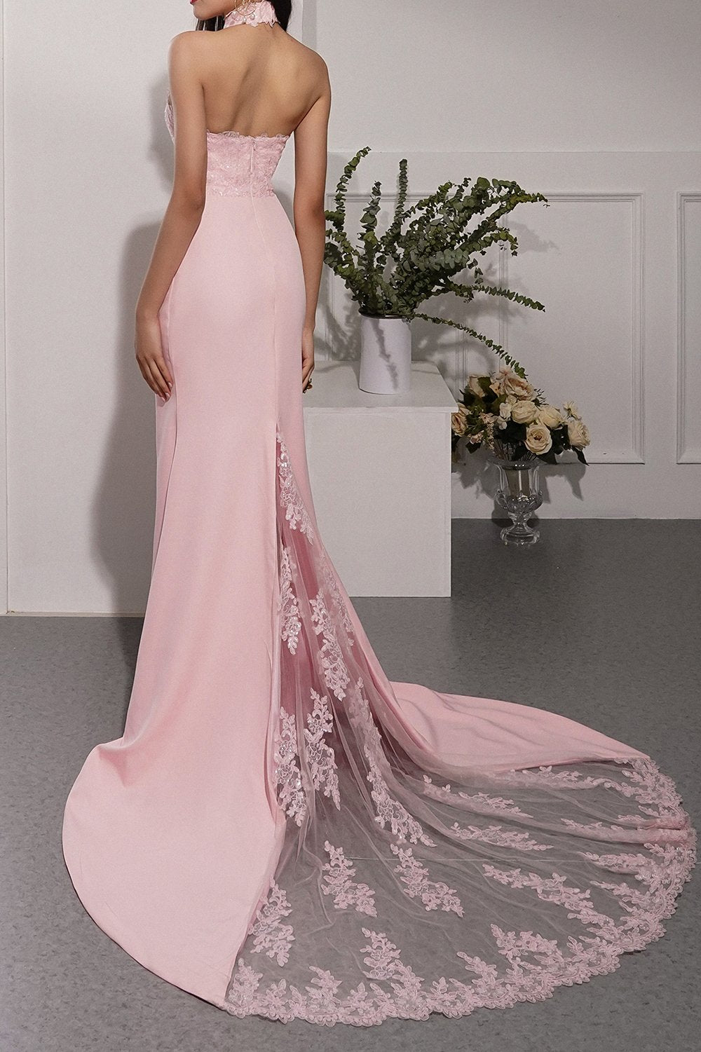 Pink Mermaid Prom Bridesmaid Dress