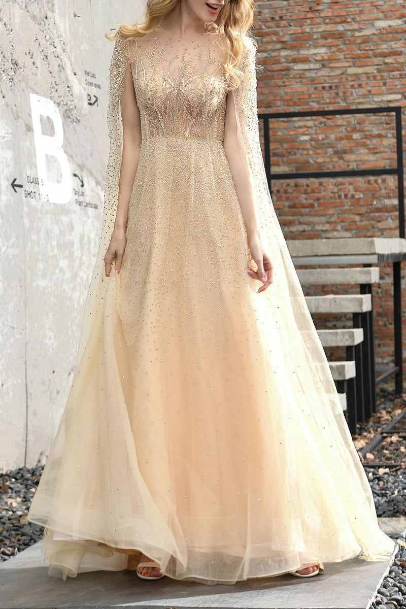 Load image into Gallery viewer, Champagne Beaded Long Prom Dress
