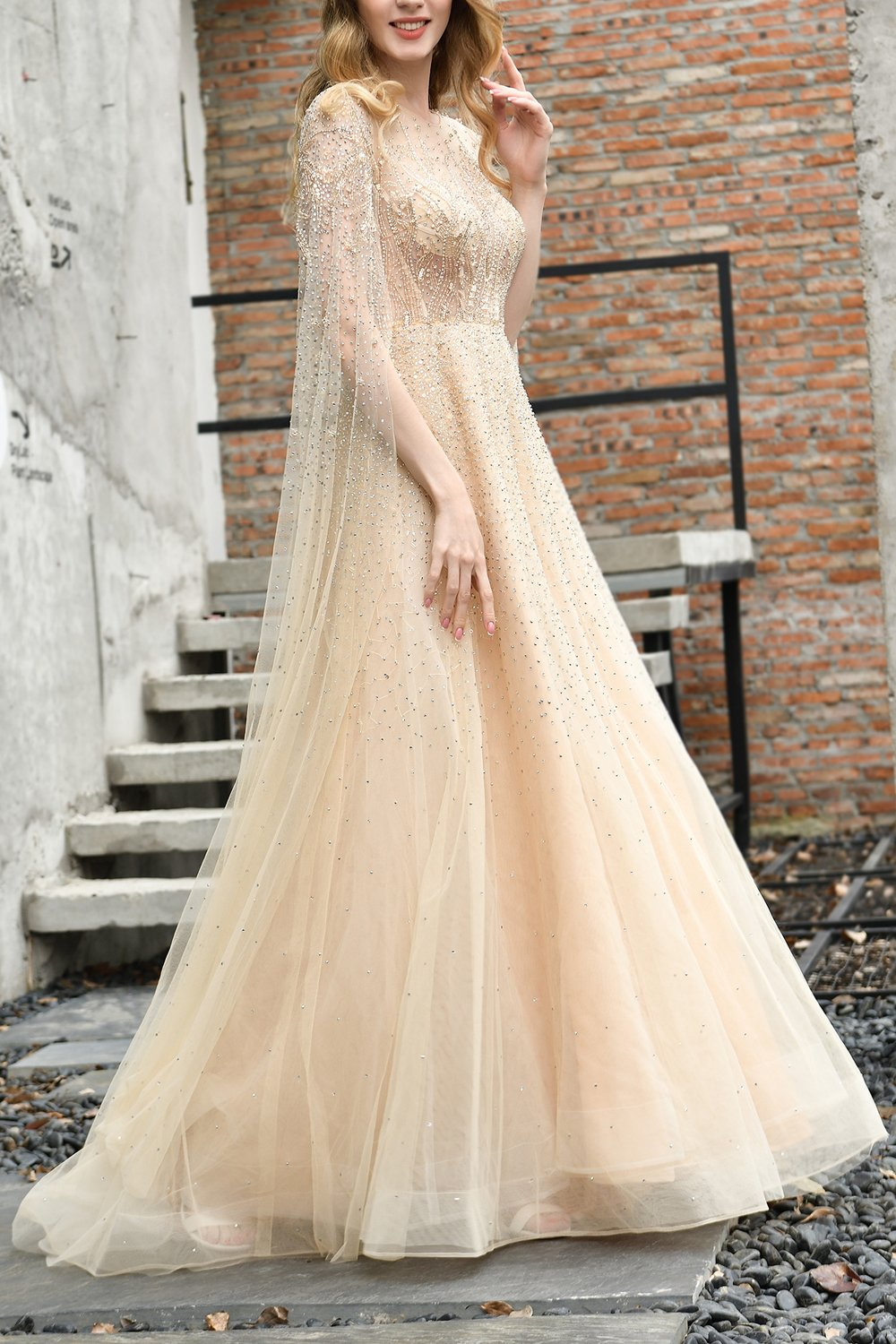 Champagne Beaded Long Prom Dress