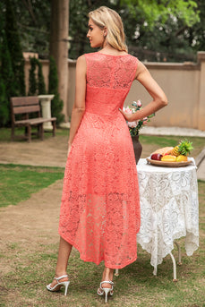 Grey High Low Lace Bridesmaid Dress