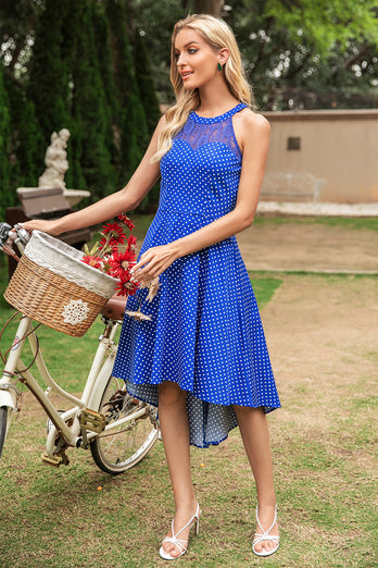 Polka Dots Halter High-Low Vintage Dress