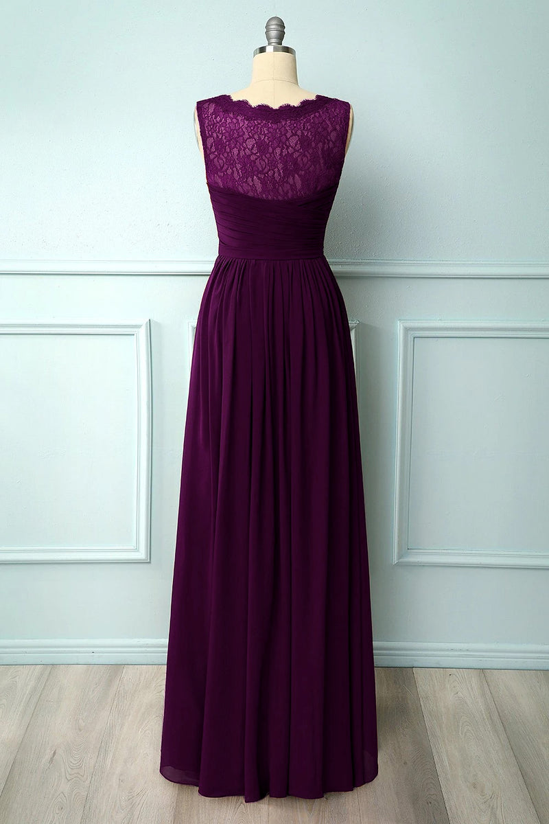 Load image into Gallery viewer, Burgundy Long Bridesmaid Dress