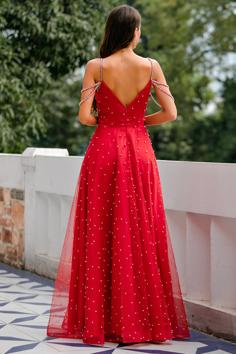 Load image into Gallery viewer, Red Beaded Long Prom Dress